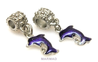 Charms -  delfin - fioletowy