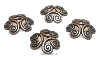 Czapeczki bali na korale - 12mm - red copper