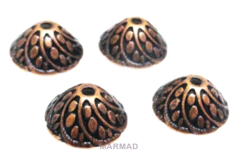 Czapeczki bali na korale kopuła 10mm - red copper